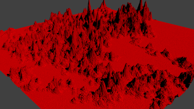 Image of computer-generated mountainous terrain.